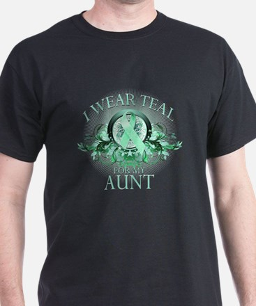 I Wear Teal for my Aunt (floral) T-Shirt