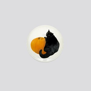 Cat with Pumpkin Mini Button
