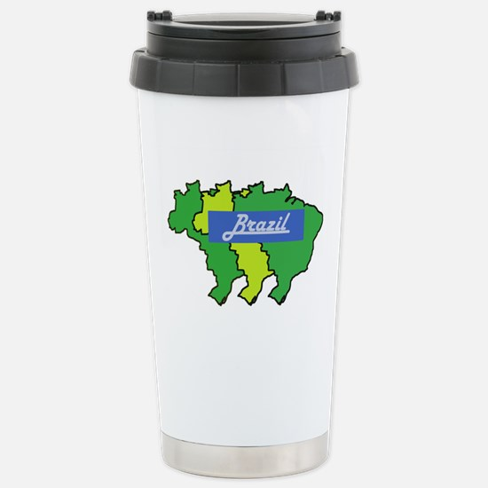 Brazil map in style Stainless Steel Travel Mug