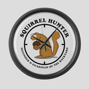 Squirrel Hunter Large Wall Clock