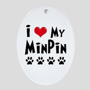 I Love My Min Pin Ornament (Oval)