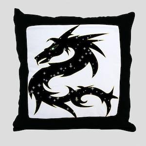 Black Star Dragon Throw Pillow