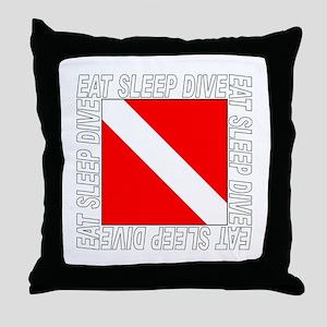 Eat Sleep Dive Throw Pillow