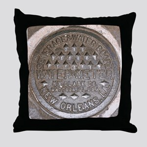 NOLa Water Meter Lid 2 Throw Pillow