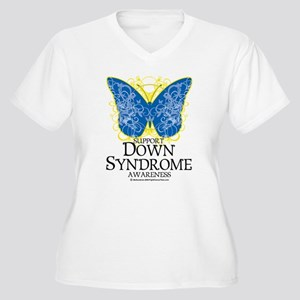 Down Syndrome Butterfly Women's Plus Size V-Neck T