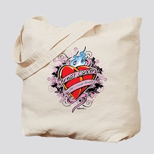 Breast Cancer Tattoo Heart 2 Tote Bag