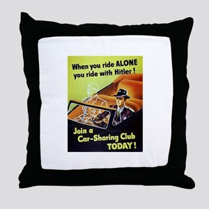 Riding With Hitler Throw Pillow