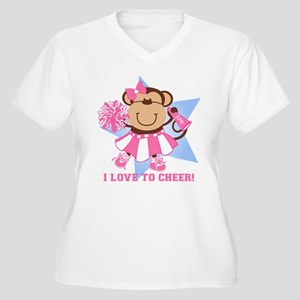 Monkey Cheerleader Women's Plus Size V-Neck T-Shir