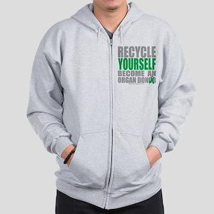 Organ Donor Recycle Yourself Zip Hoodie