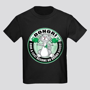 Organ Donor Fighter Cat Kids Dark T-Shirt