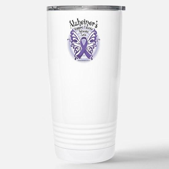 Alzheimers Butterfly 3 Stainless Steel Travel Mug