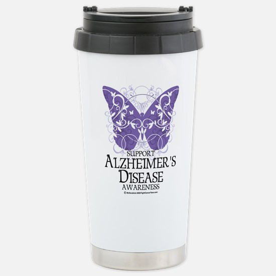 Alzhimers Butterfly 4 Stainless Steel Travel Mug