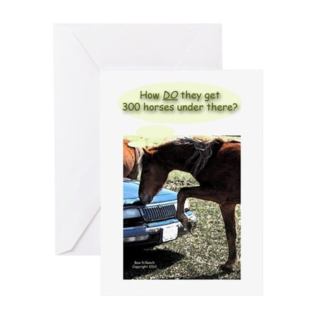 Funny 300 Horse Car Greeting Card
