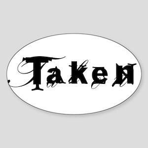 Taken Fancy Oval Sticker
