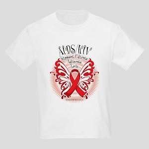AIDS/HIV Butterfly 3 Kids Light T-Shirt