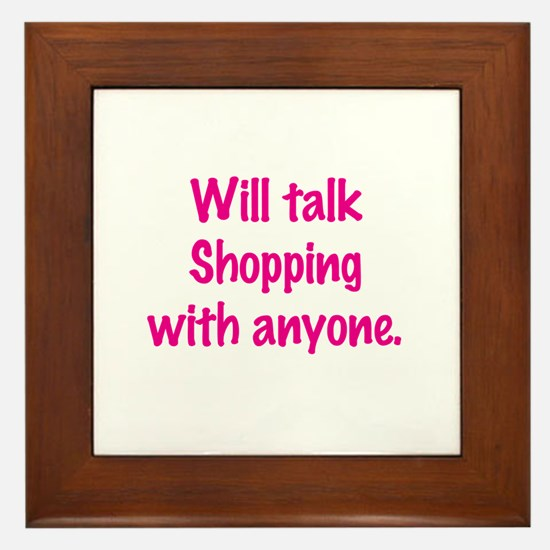 Talk Shopping Framed Tile