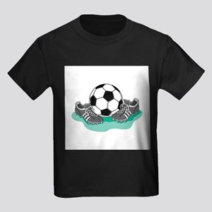 Soccer Ball and Cleats Kids Dark T-Shirt