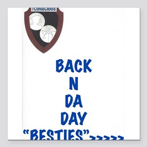"Besties Square Car Magnet 3"" x 3"""
