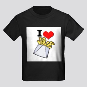 I Heart (love) French Fries Kids Dark T-Shirt