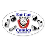 Fat Cat Comics Sticker (Oval)