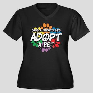 Paws-Adopt-2009 Women's Plus Size V-Neck Dark T-Sh