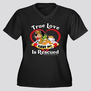 Rescued-Love Women's Plus Size V-Neck Dark T-Shirt