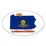 ILY Pennsylvania Sticker (Oval 10 pk)