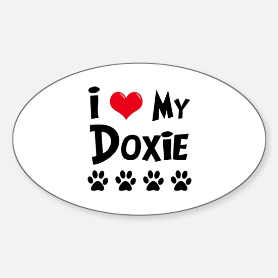 I Love My Doxie Sticker (Oval)
