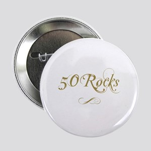 "Fancy Gold 50th Birthday 2.25"" Button"
