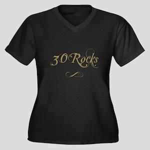 Fancy Gold 30th Birthday Women's Plus Size V-Neck