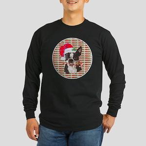 Boston terrier Christmas Long Sleeve Dark T-Shirt