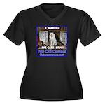 Guard Cat Women's Plus Size V-Neck Dark T-Shirt