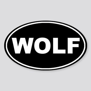 Wolf Black Oval Sticker (Oval)