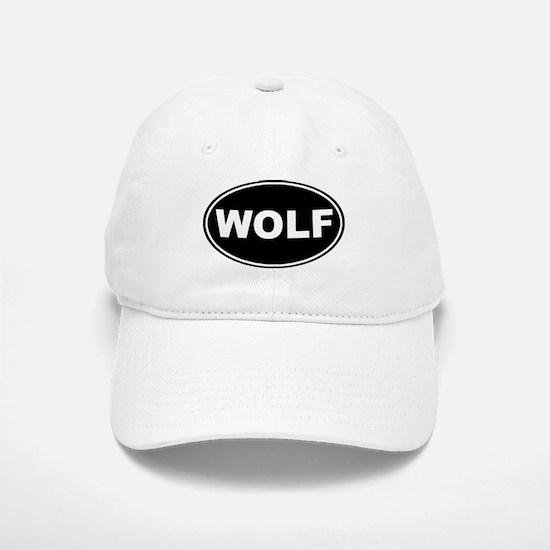 Wolf Black Oval Baseball Baseball Cap