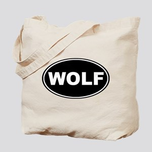 Wolf Black Oval Tote Bag