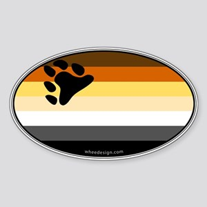 Oval Bear Pride Flag Oval Sticker