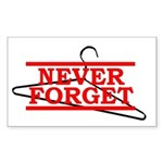 Never Forget (Abortion Hanger) Sticker (Rectangula