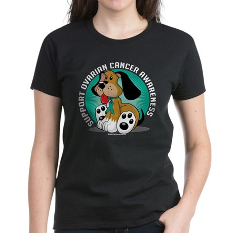Ovarian Cancer Dog Women's Dark T-Shirt