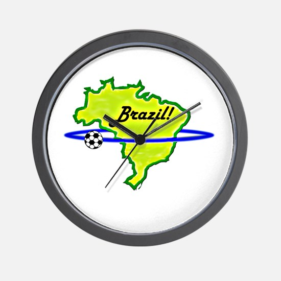Brazil orbiting soccer ball Wall Clock