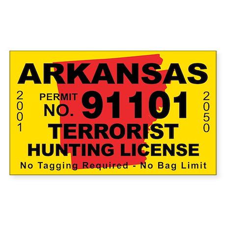 Arkansa Terrorist Hunting License Sticker