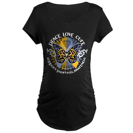 Psoriasis Peace Love Cure Maternity Dark T-Shirt