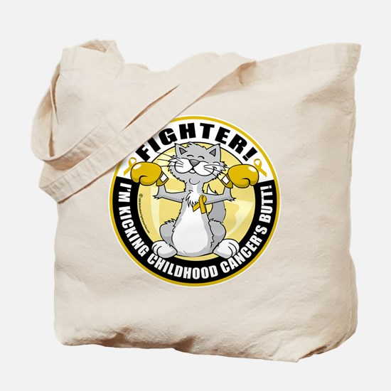 Childhood Cancer Fighter Cat Tote Bag