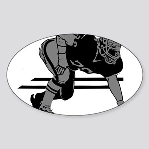 FOOTBALL *6* {gray} Sticker (Oval)