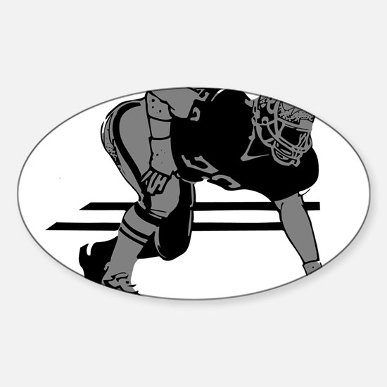 FOOTBALL *6* {gray} Sticker (Oval)
