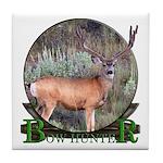 bow hunter, trophy buck Tile Coaster