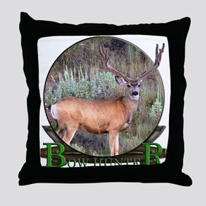 bow hunter, trophy buck Throw Pillow