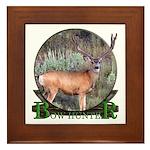 bow hunter, trophy buck Framed Tile