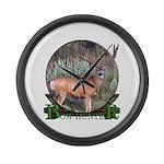 bow hunter, trophy buck Large Wall Clock
