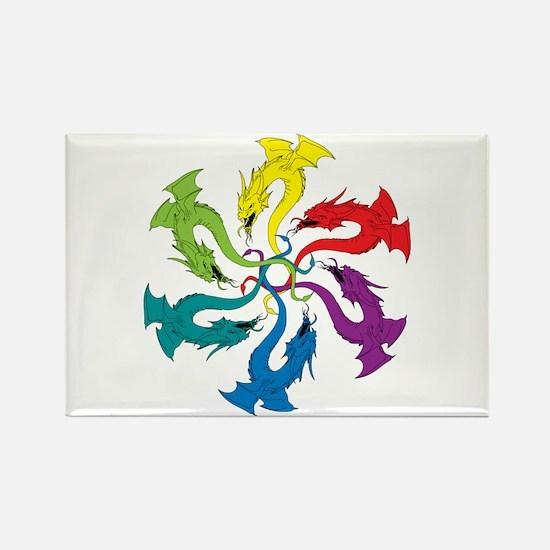 6 Dragons Rectangle Magnet