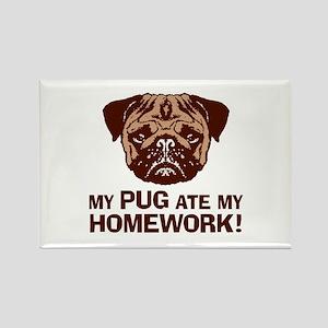 My Pug Ate My Homework Rectangle Magnet